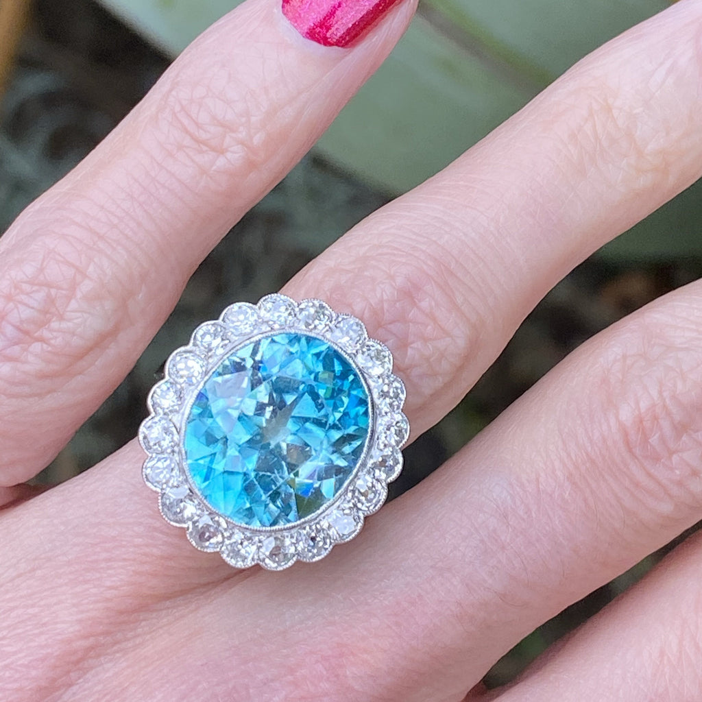 15.30 carat Blue Zircon and Diamond Halo Cocktail Ring