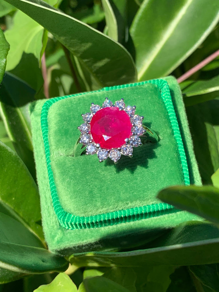 Vintage 2.75 Carat Ruby and Diamond Halo Ring in 18K White Gold