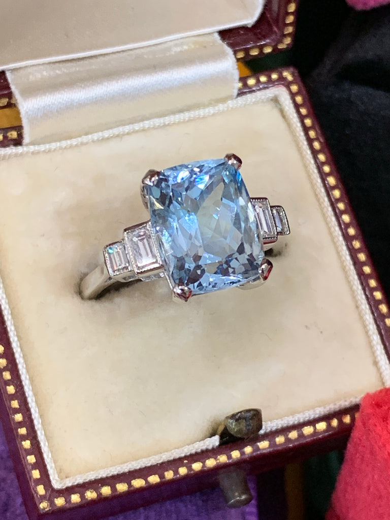5.10 Carat Aquamarine and Diamond Art Deco Ring in Platinum