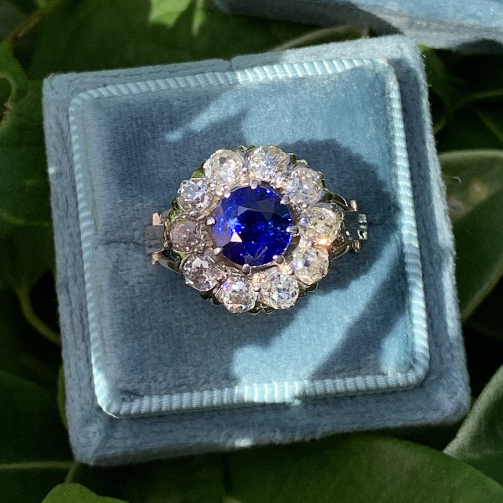 3.00 CTW Antique Edwardian Unheated Blue Sapphire and Diamond Ring in 18K Gold