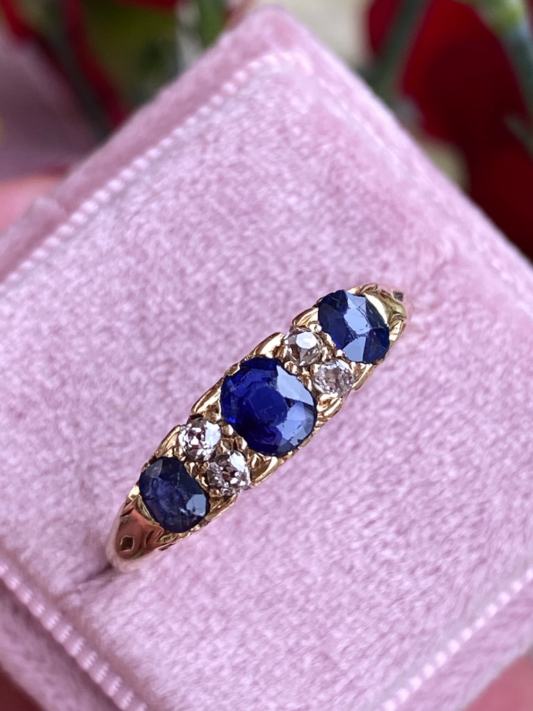 Antique Blue Sapphire and Old Cut Diamond Band Engagement Ring in Yellow Gold