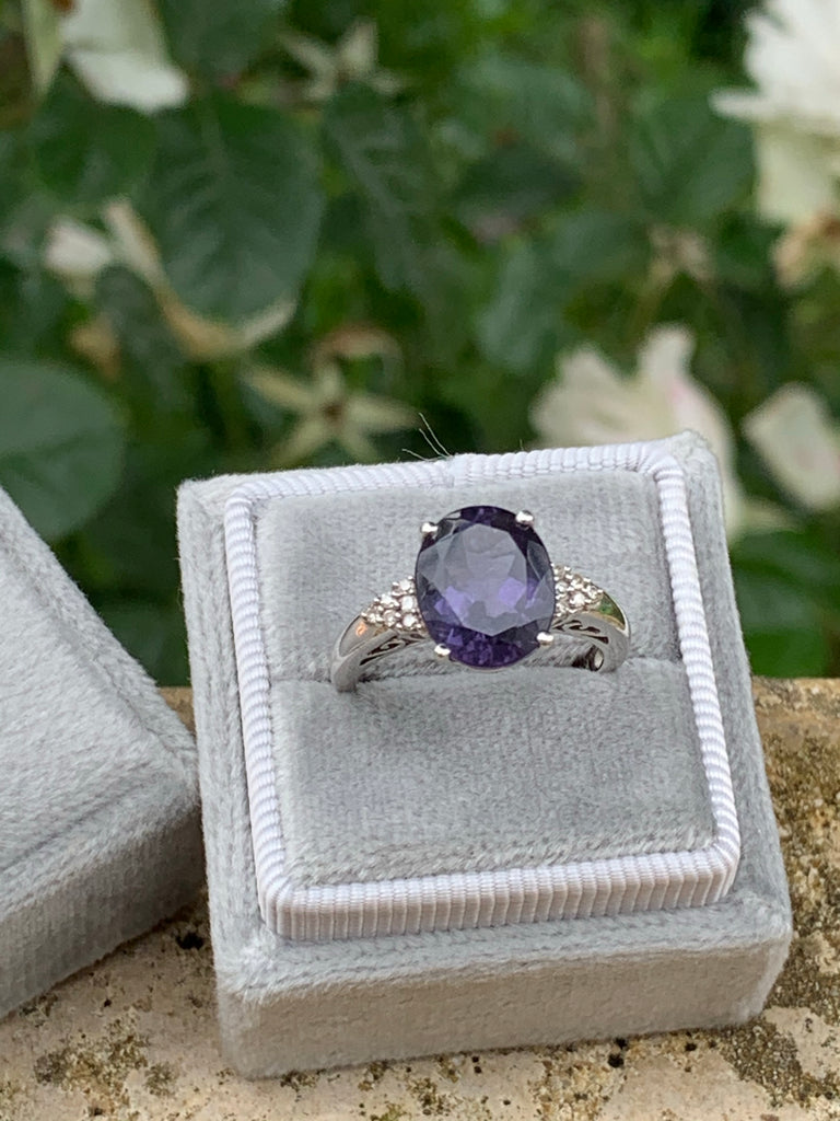 3.00 Carat Oval Iolite and Diamond Ring in 18K White Gold
