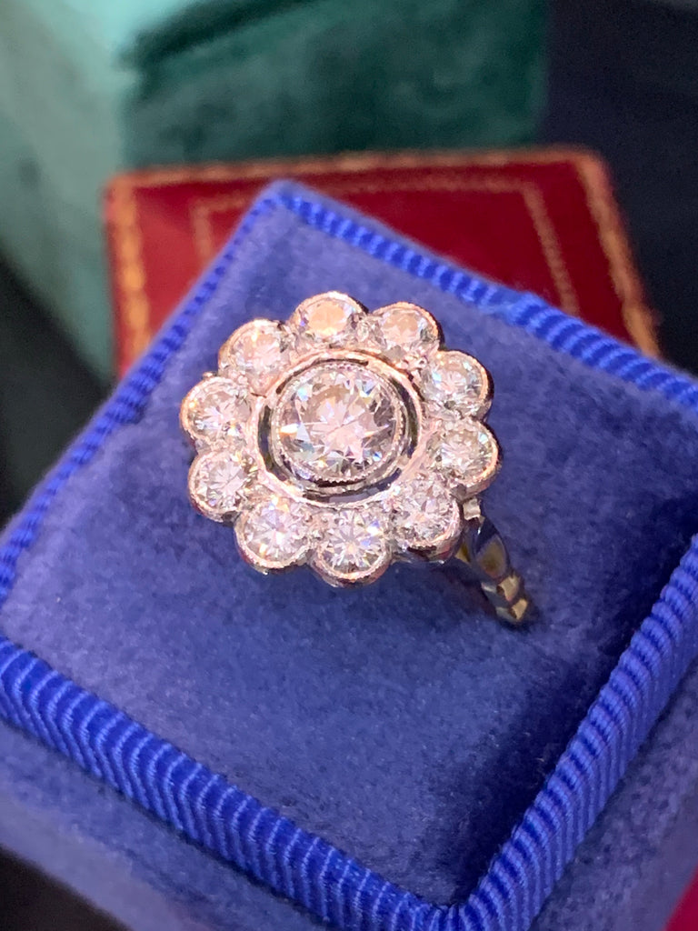 1.78 ctw Diamond Halo Ring in 18K Gold