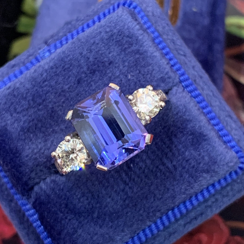 Extraordinary Tanzanite and Diamond Ring