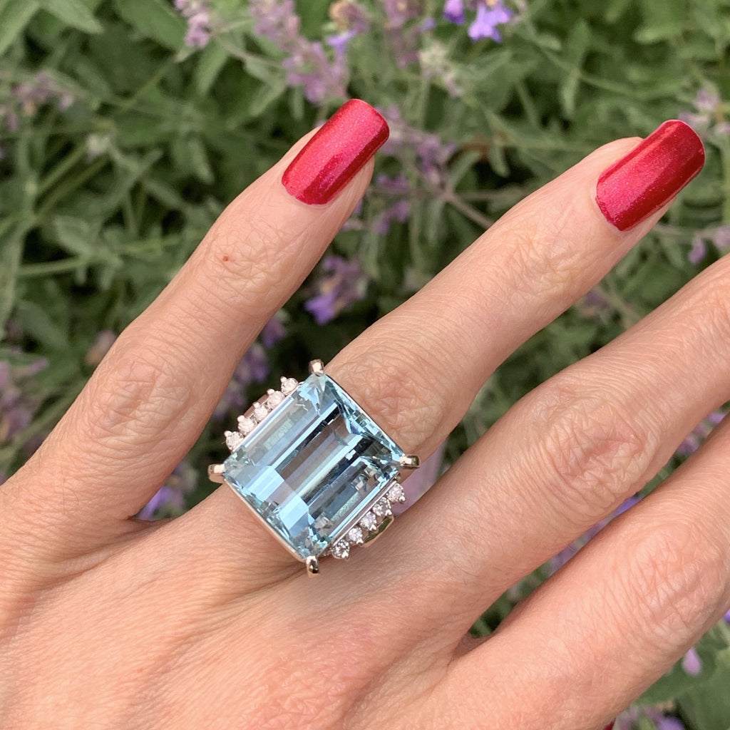 21ct Aquamarine and Diamond Ring in Platinum