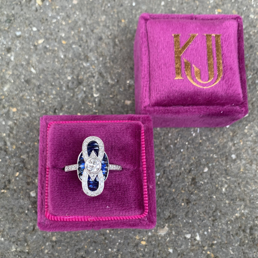 1.15 CTW Blue Sapphire and Diamond Art Deco Engagement Ring