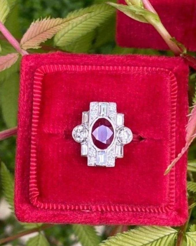 Gorgeous Deco Design Ruby and Diamond Ring