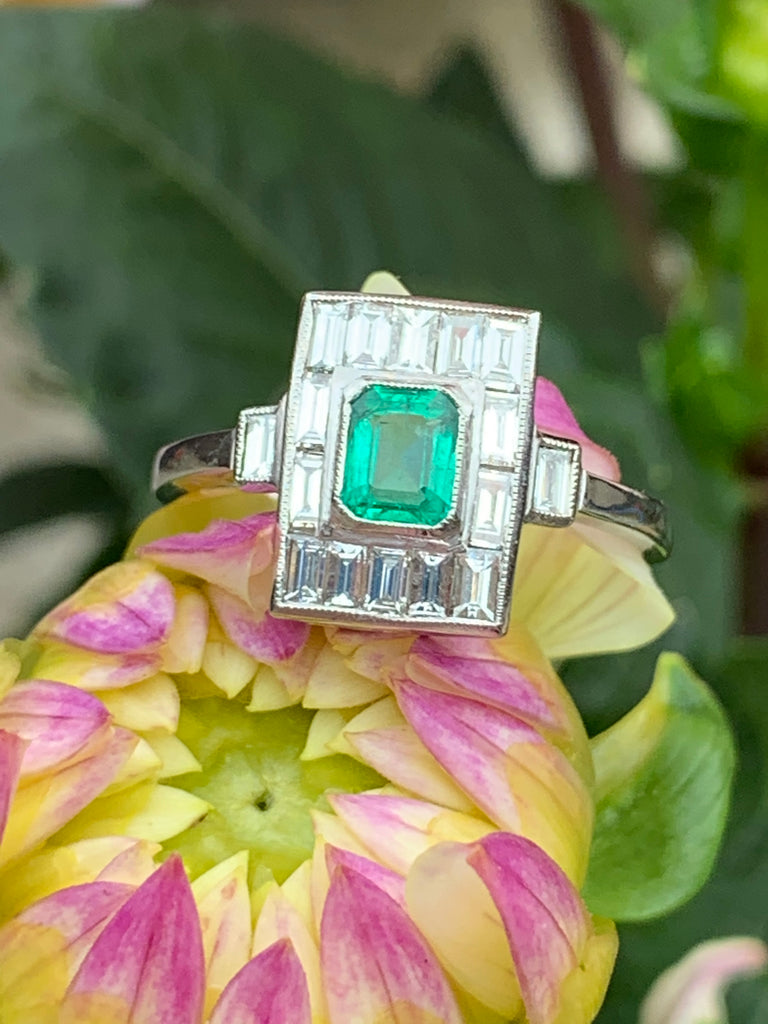 0.50 Carat Emerald and Diamond Art Deco Ring in Platinum
