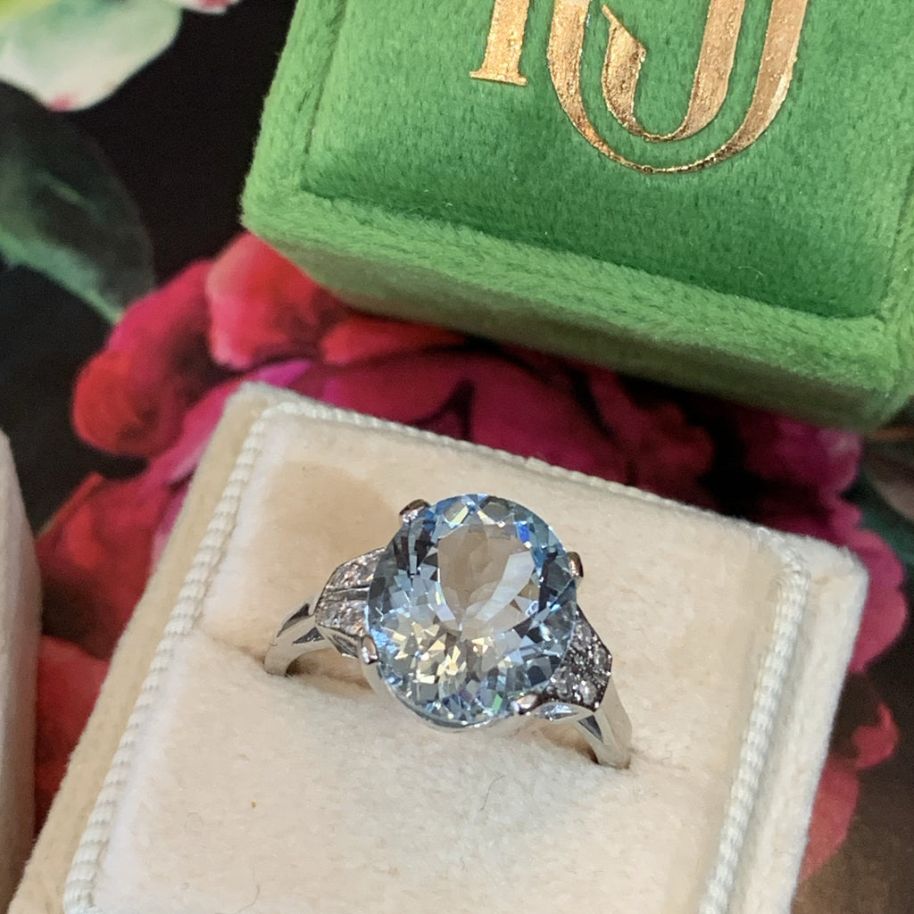 4 Carat Aquamarine and Diamond Art Deco Ring in Platinum
