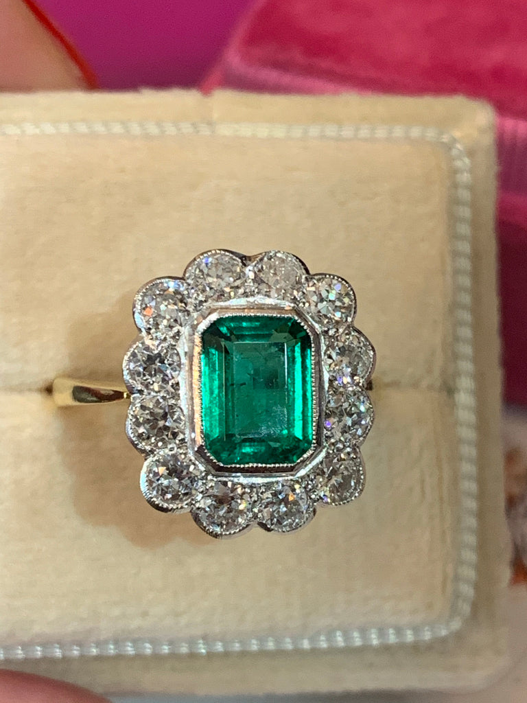 1.65 Carat Zambian Emerald and Old Euro Cut Diamond Ring in 18K Gold
