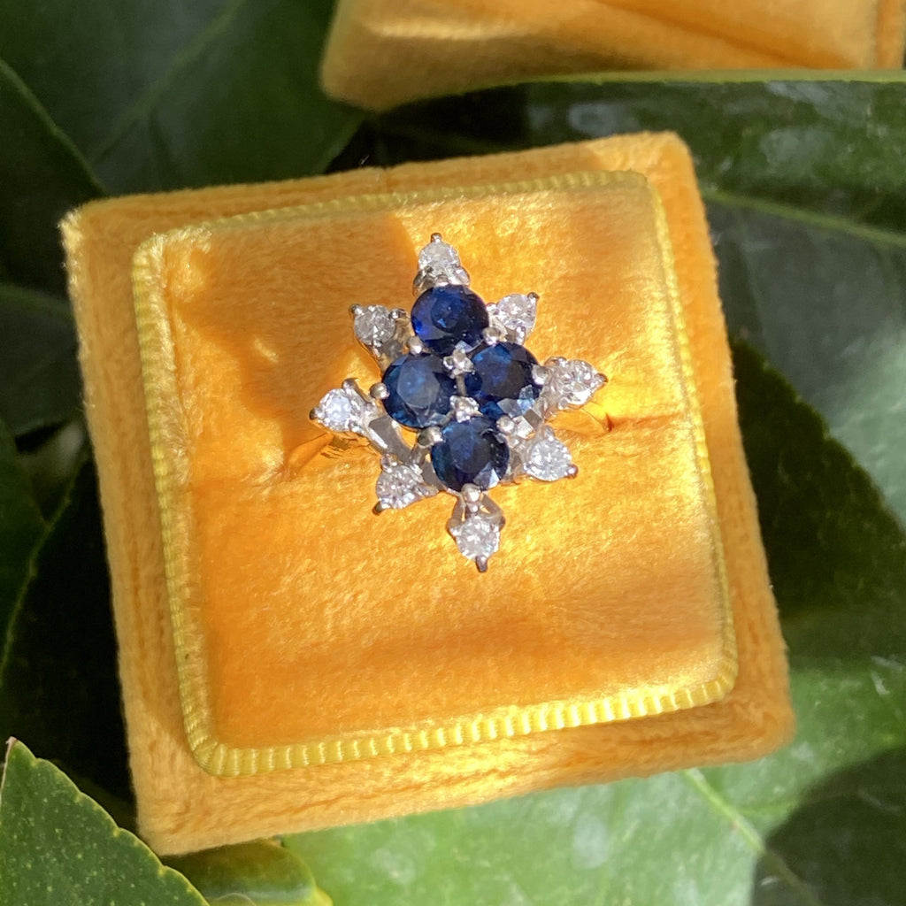 Vintage Blue Sapphire and Diamond Cluster Snowflake Ring