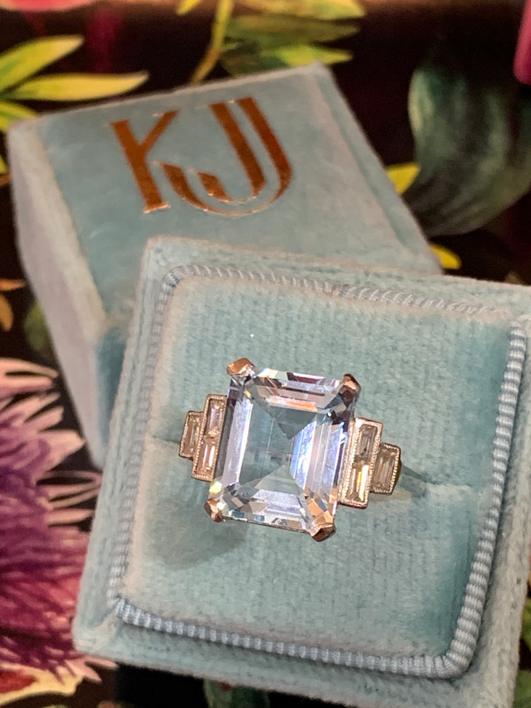 5.58 Carat Aquamarine and Diamond Art Deco Ring in Platinum