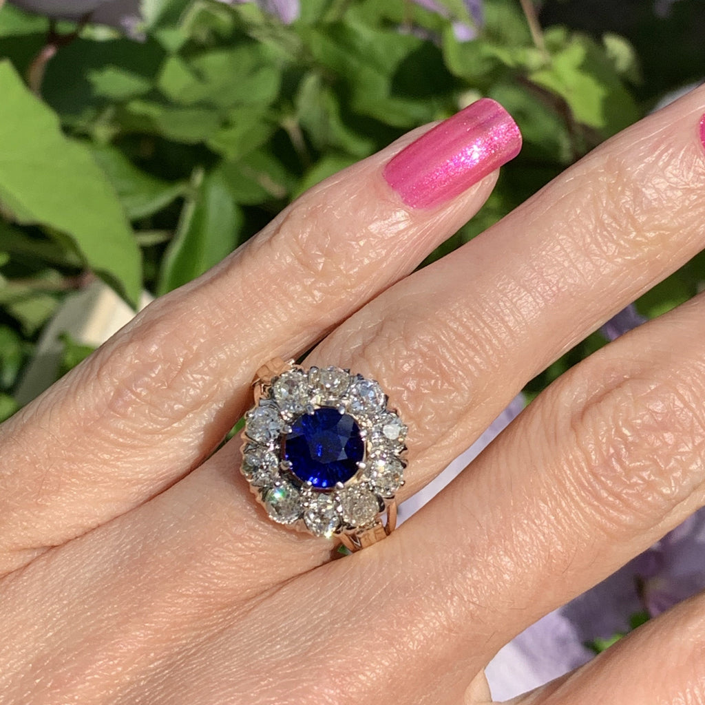 Edwardian Unheated Blue Sapphire and Diamond Ring in 18K Gold