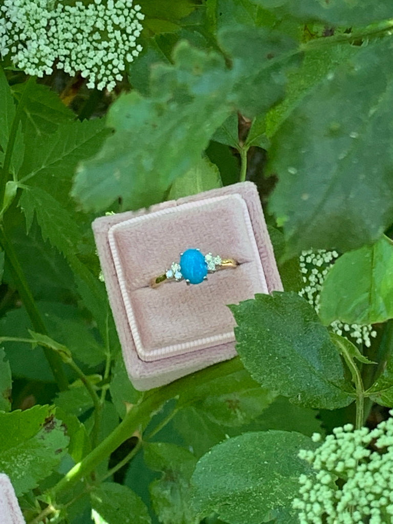 Sleeping Beauty Turquoise and Diamond Ring
