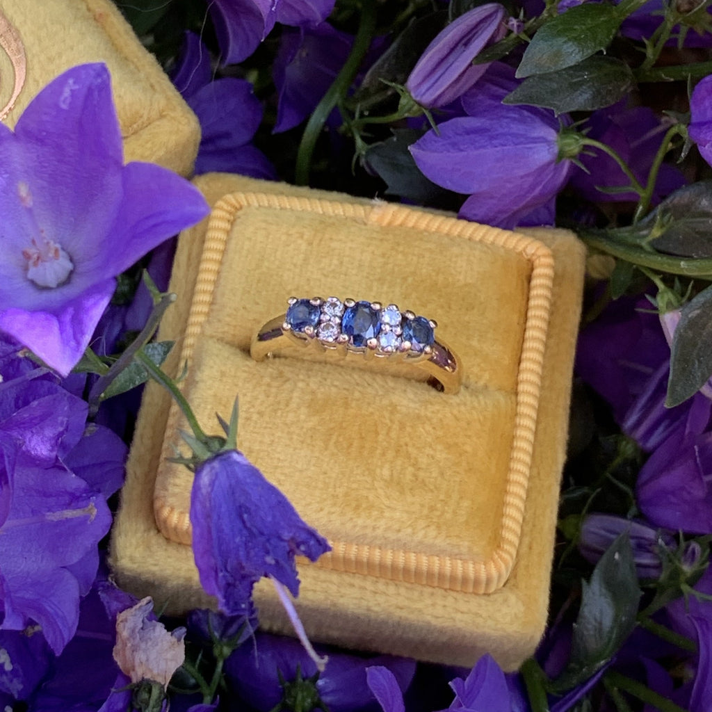 Blue Sapphire and Diamond Trilogy Ring in 18K Yellow Gold