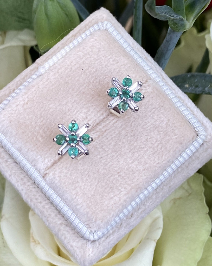 Emerald and Diamond Art Deco Stud Earrings in White Gold