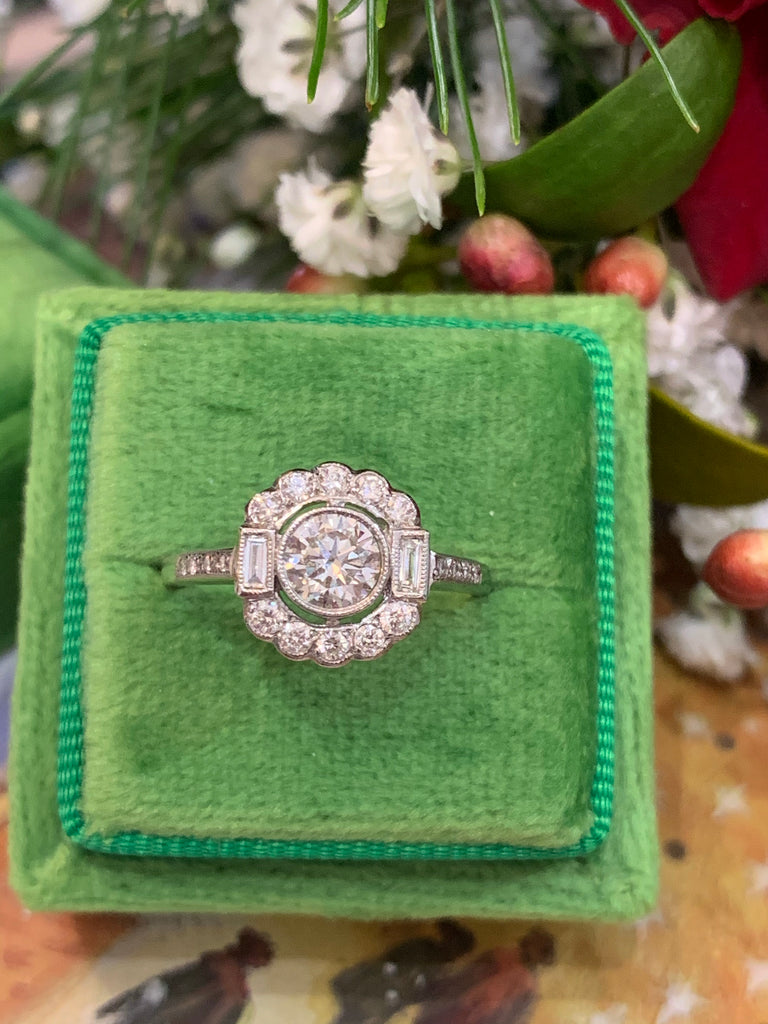 Art Deco Design Diamond Engagement Ring