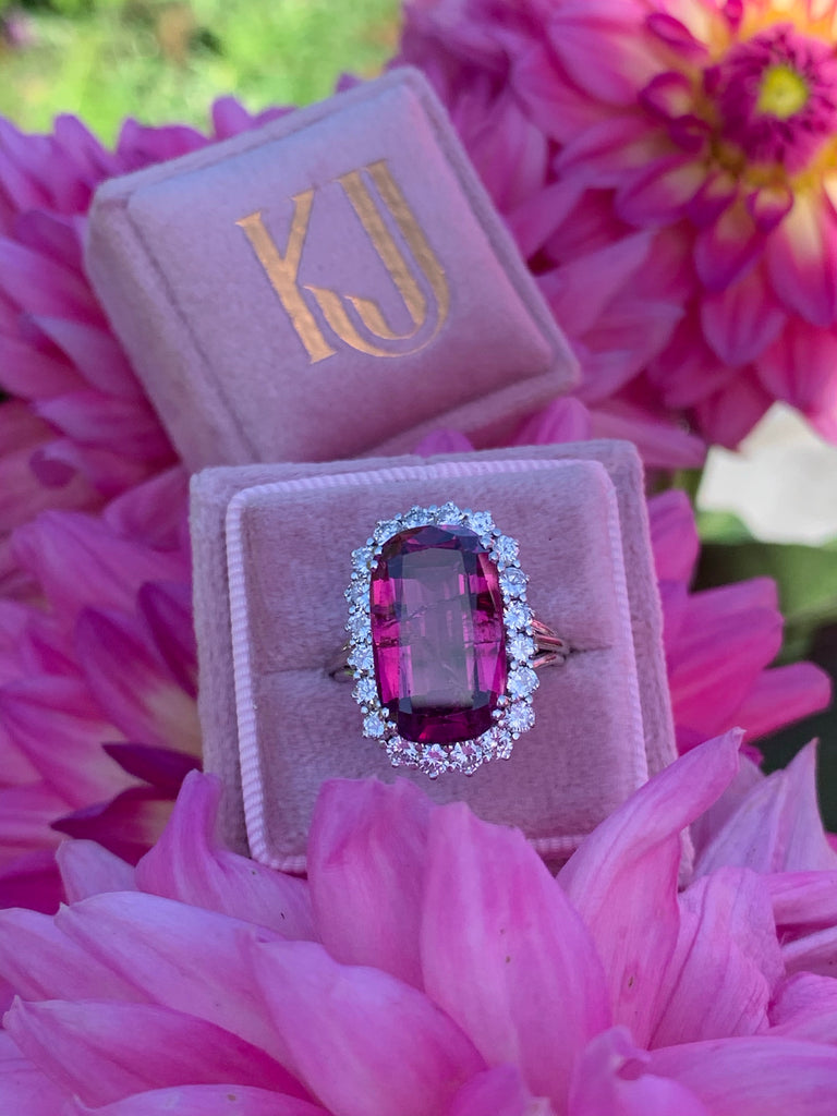 Stunning Pink Tourmaline and Diamond Ring