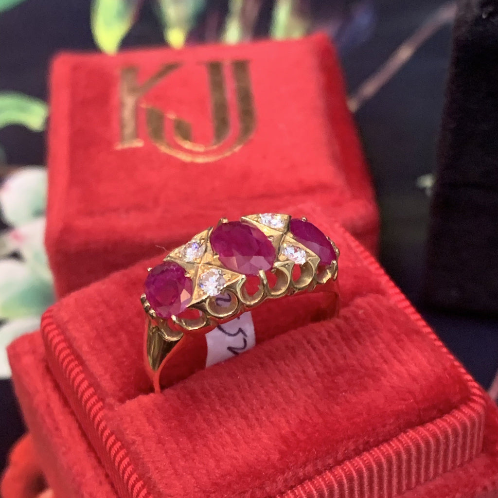 Vintage Burmese Ruby and Diamond Band in 18K Yellow Gold