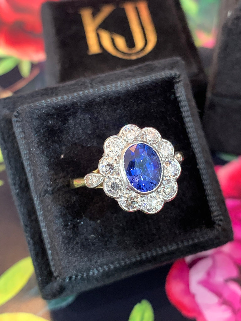1.25 Carat Blue Ceylon Sapphire and Diamond Ring in 18ct Gold