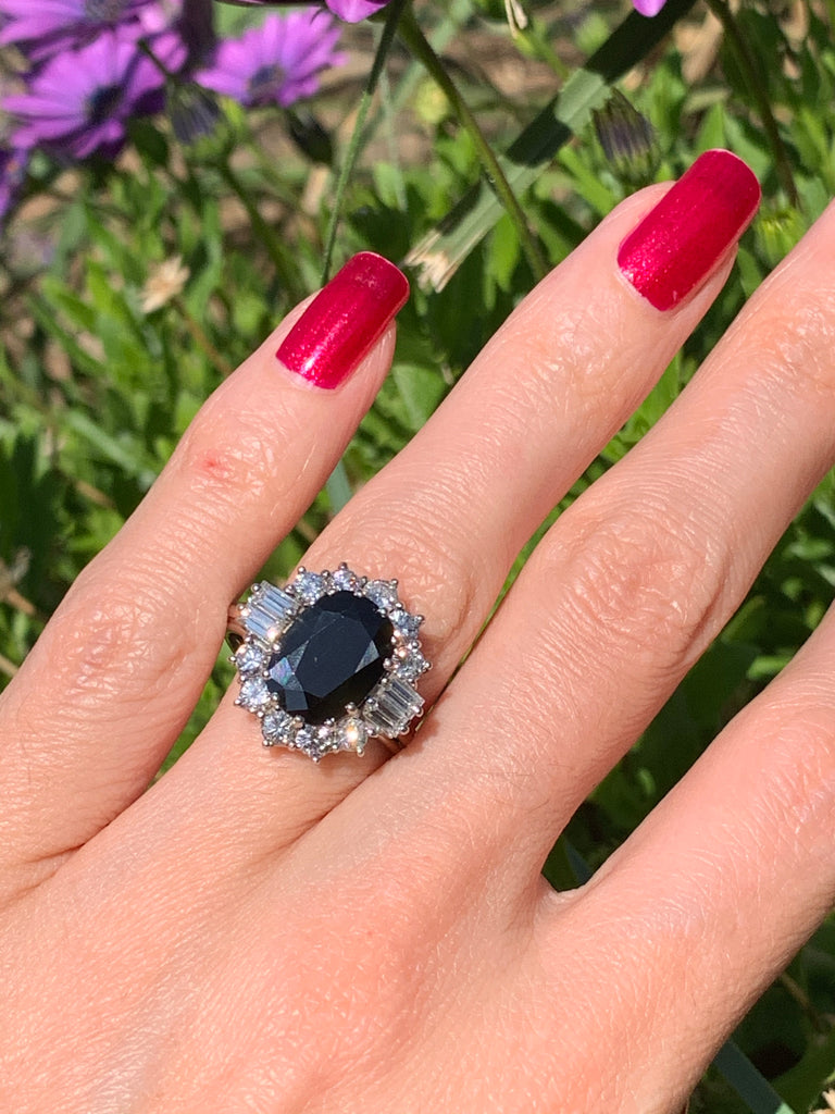 Vintage Sapphire and Diamond Ring in 18K White Gold