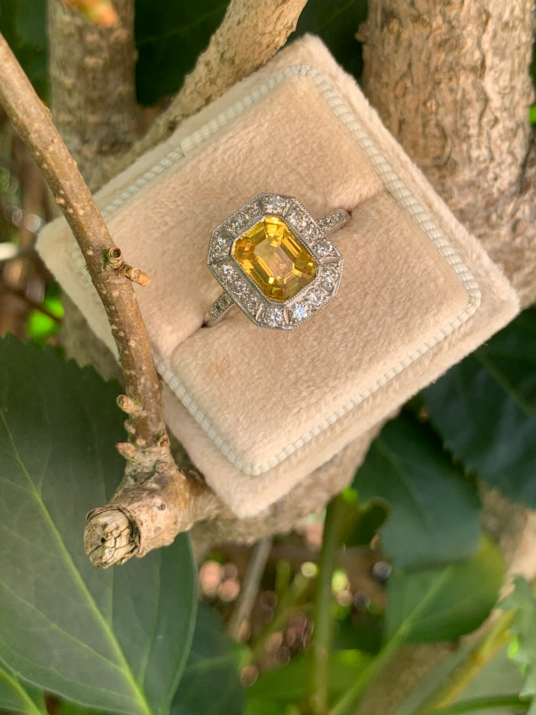 1.90 Carat Yellow Sapphire and Diamond Halo Ring in Platinum