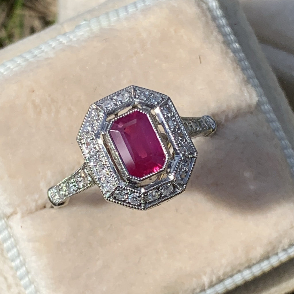 Ruby and Diamond Halo Art Deco Ring in Platinum