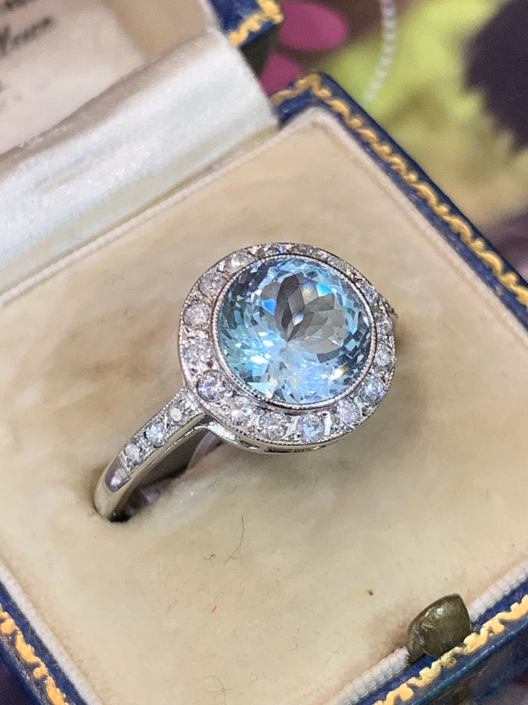 Beautiful Aquamarine and Diamond Engagement Ring