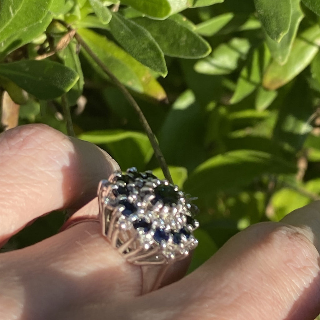 Vintage 2.00 CTW Sapphire and Diamond Ring in 18ct White Gold