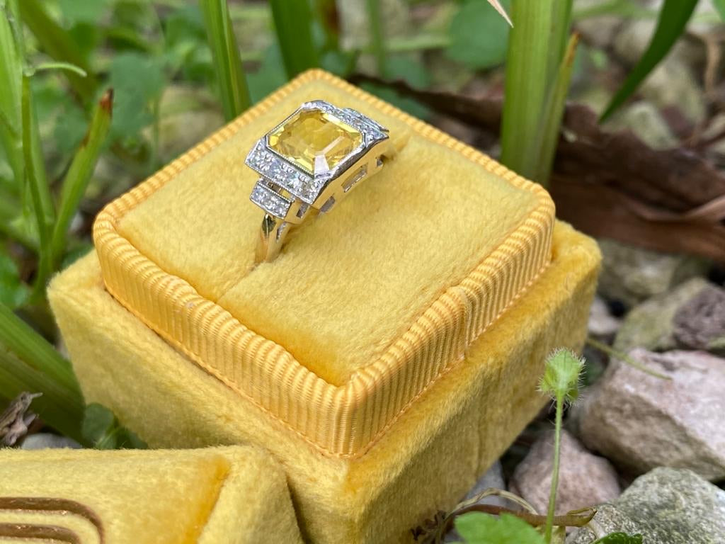 Exquisite Yellow Sapphire and Diamond Ring