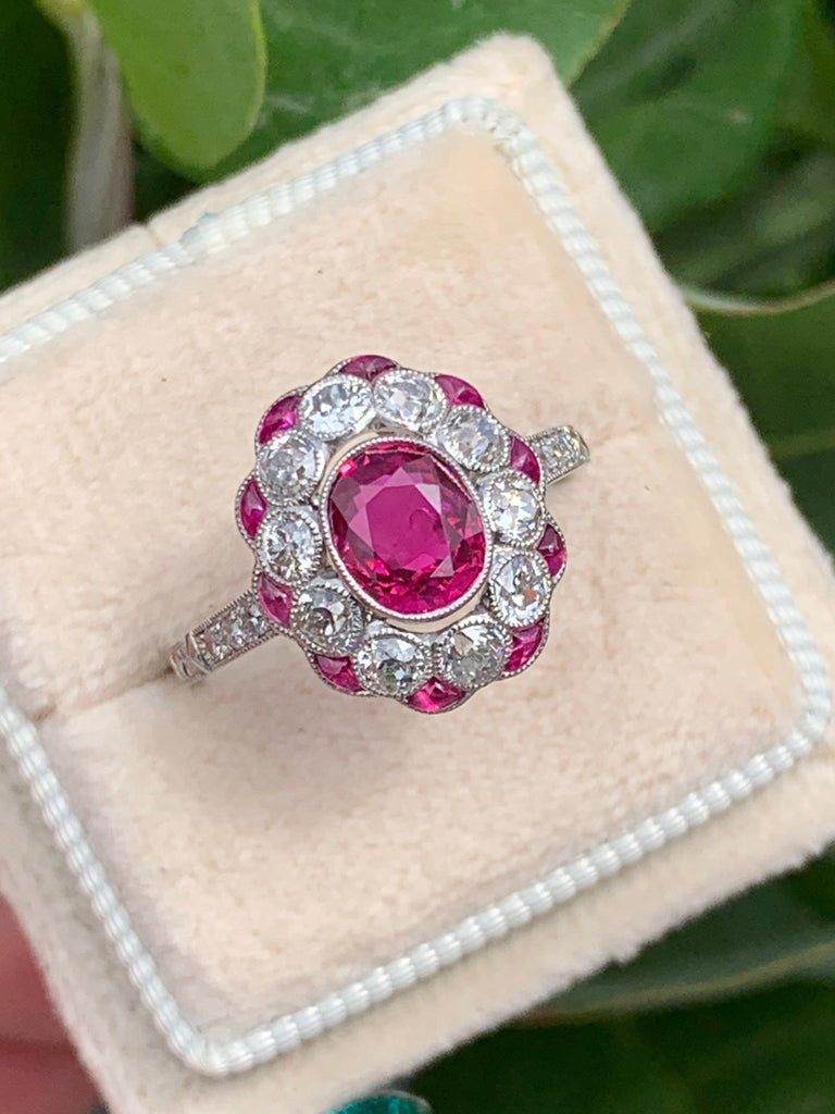 1.03 Carat Ruby and Diamond Art Deco Engagement Ring