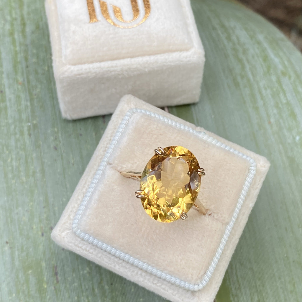 Large Oval Citrine and Yellow Gold Ring