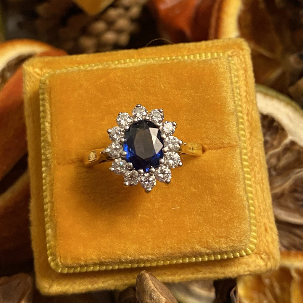 1.00 Carat Blue Sapphire and Diamond Ring in 18K Gold and Platinum