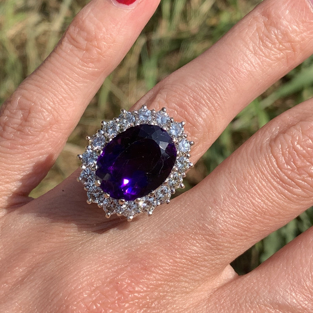10 Carat Amethyst and Diamond Halo Ring in 18K Gold