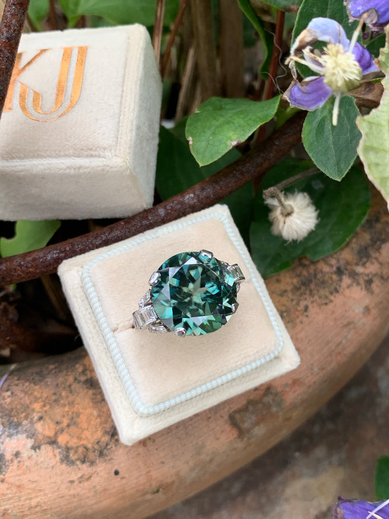 20.00 Carat Blue Zircon and Diamond Art Deco Ring in Platinum