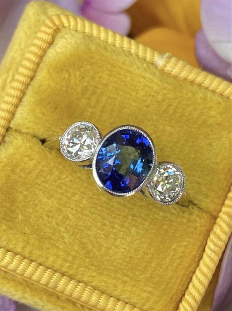 1.70 Carat Blue Ceylon Sapphire and Diamond Three Stone Ring in Platinum