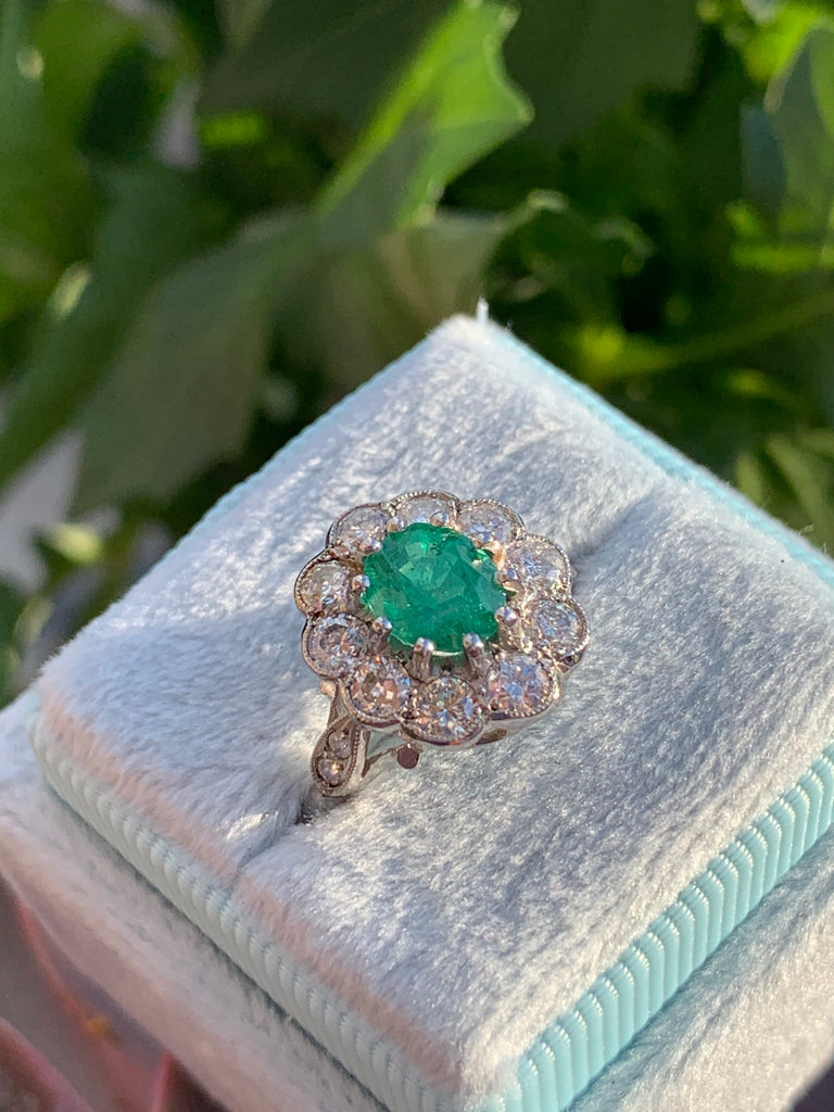 1.01 Emerald and Diamond Art Deco Halo Ring