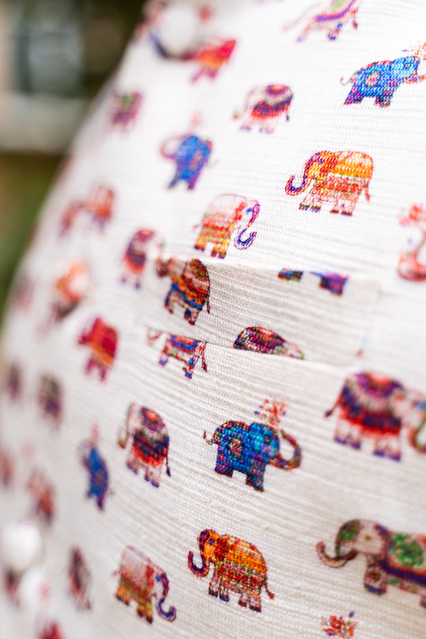 Colorful elephant print with left chest pocket