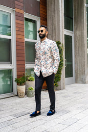 Made by Saffron Lane, Modern Indian Menswear, Indo western men's clothing. Bandghala jacket with floral print on an Ivory base. Perfect for Indian wedding or dinner party.