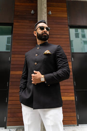 Made by saffron lane, modern indian men's clothing, Indo Western men's clothing. Black, Premium Quality, Wool Bandghala Jacket. Perfect for Indian wedding reception