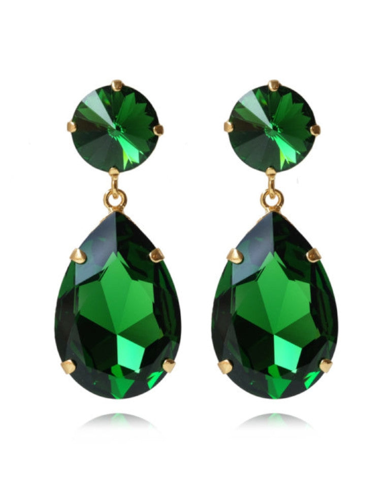 Perfect drop earrings - dark moss green