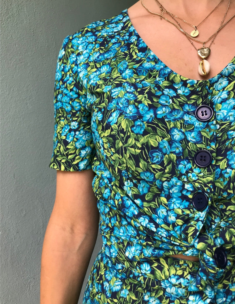 Betty Button Top - Blue Forest
