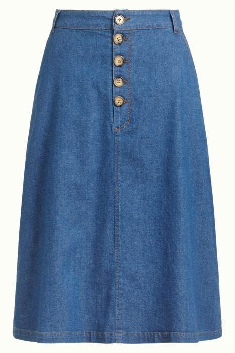 King Louie skjørt High Waist Button skirt - chambray