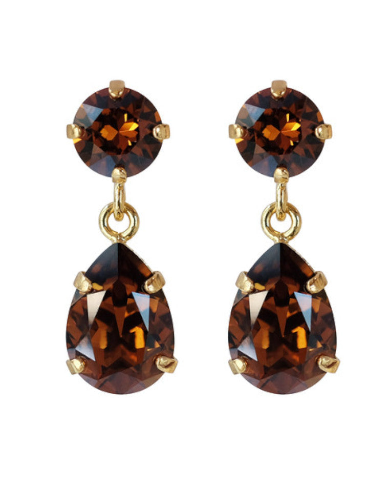 Classic drop earrings - smoked topaz