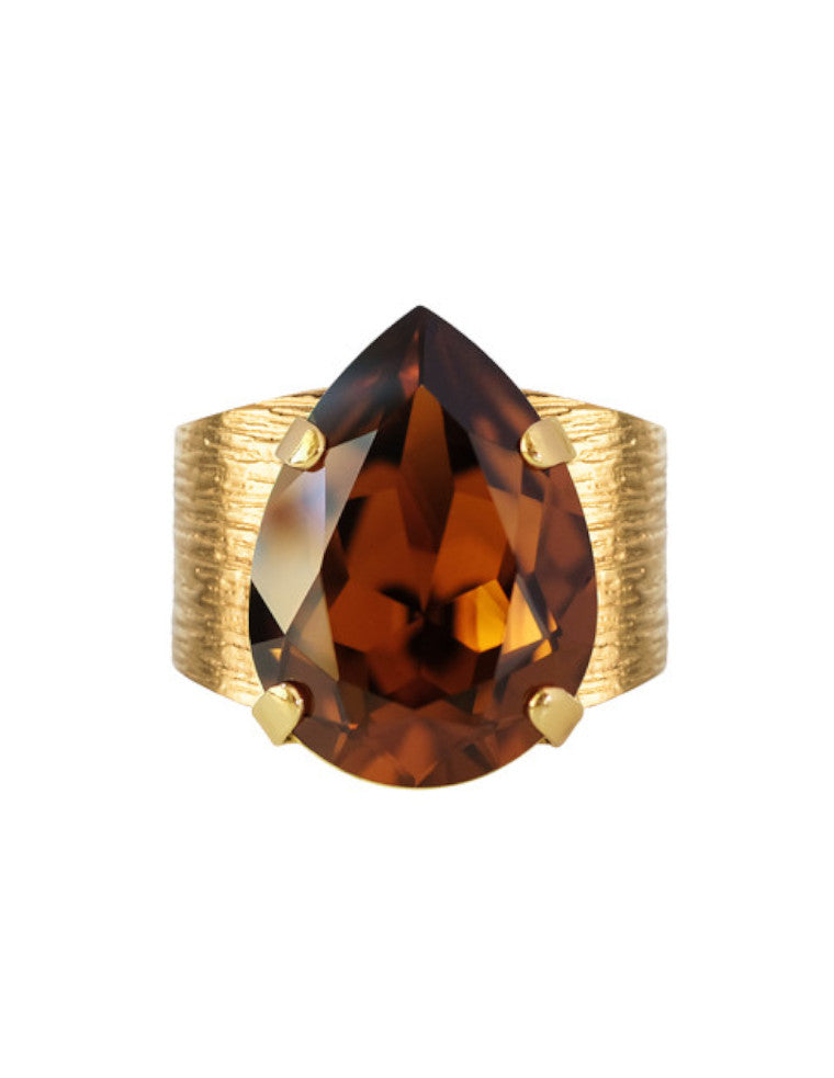 Classic Drop Ring - smoked topaz