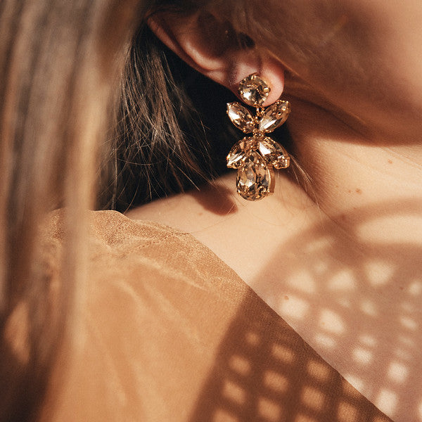 Dione earrings - silvernight/jet hematit