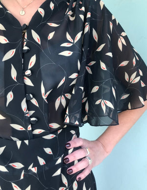 Diana Blouse chiffon - leaves