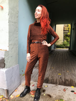 Dianas Vintage bukser So Very High Waisted - lurex rust