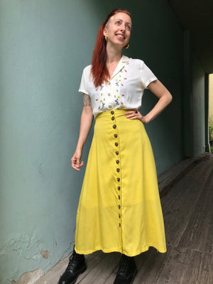 Betty Button Skirt - Lemon Zest
