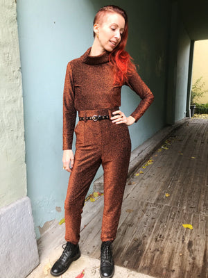 Dianas Vintage Topper Frida Top - lurex rust